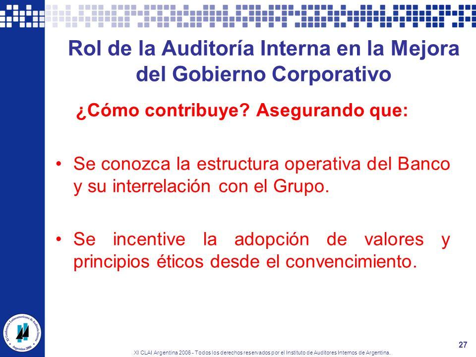 XI CLAI Argentina 2006 - Todos los derechos reservados por el Instituto de Auditores Internos de Argentina. 27 Rol de la Auditoría Interna en la Mejor