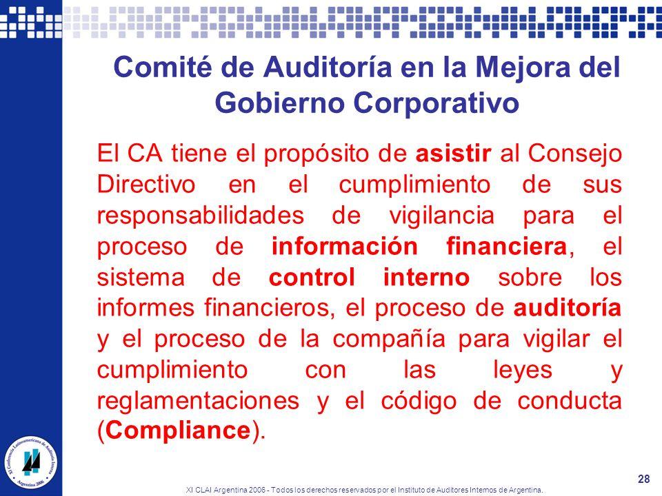 XI CLAI Argentina 2006 - Todos los derechos reservados por el Instituto de Auditores Internos de Argentina. 28 Comité de Auditoría en la Mejora del Go