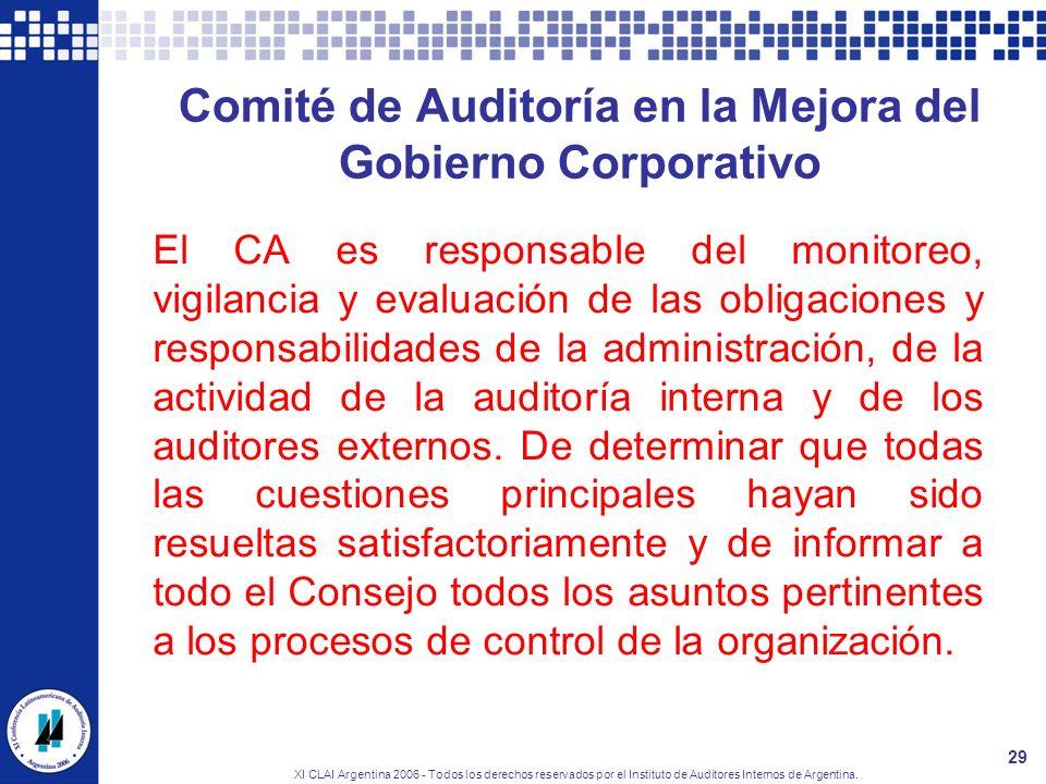 XI CLAI Argentina 2006 - Todos los derechos reservados por el Instituto de Auditores Internos de Argentina. 29 Comité de Auditoría en la Mejora del Go