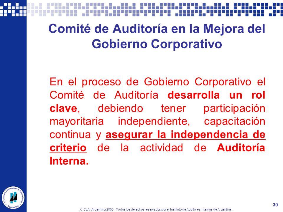 XI CLAI Argentina 2006 - Todos los derechos reservados por el Instituto de Auditores Internos de Argentina. 30 Comité de Auditoría en la Mejora del Go