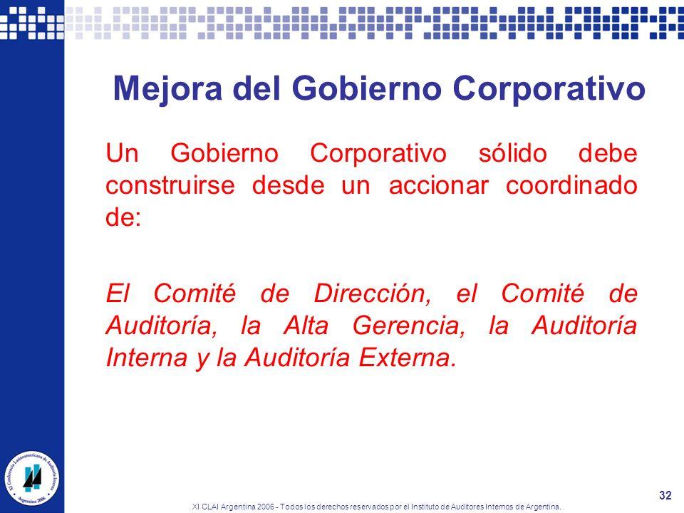 XI CLAI Argentina 2006 - Todos los derechos reservados por el Instituto de Auditores Internos de Argentina. 32 Mejora del Gobierno Corporativo Un Gobi