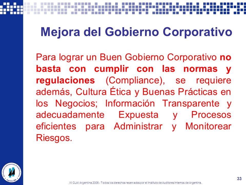 XI CLAI Argentina 2006 - Todos los derechos reservados por el Instituto de Auditores Internos de Argentina. 33 Mejora del Gobierno Corporativo Para lo