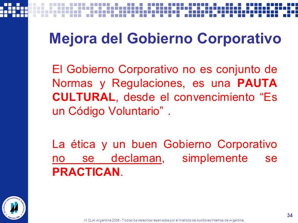 XI CLAI Argentina 2006 - Todos los derechos reservados por el Instituto de Auditores Internos de Argentina. 34 Mejora del Gobierno Corporativo El Gobi