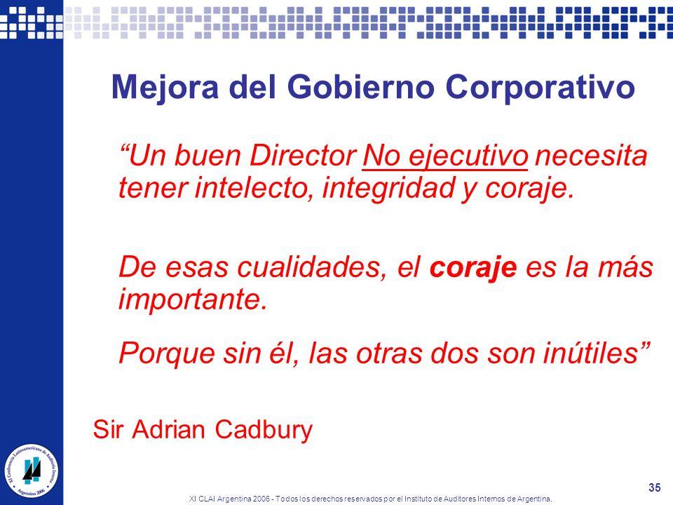 XI CLAI Argentina 2006 - Todos los derechos reservados por el Instituto de Auditores Internos de Argentina. 35 Mejora del Gobierno Corporativo Un buen