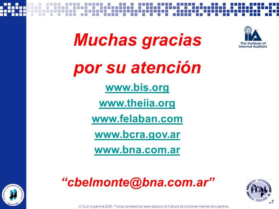 XI CLAI Argentina 2006 - Todos los derechos reservados por el Instituto de Auditores Internos de Argentina. 37 Muchas gracias por su atención www.bis.