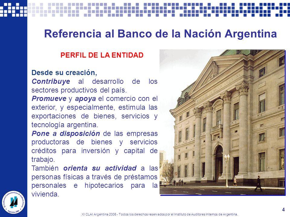 XI CLAI Argentina 2006 - Todos los derechos reservados por el Instituto de Auditores Internos de Argentina. 4 Referencia al Banco de la Nación Argenti