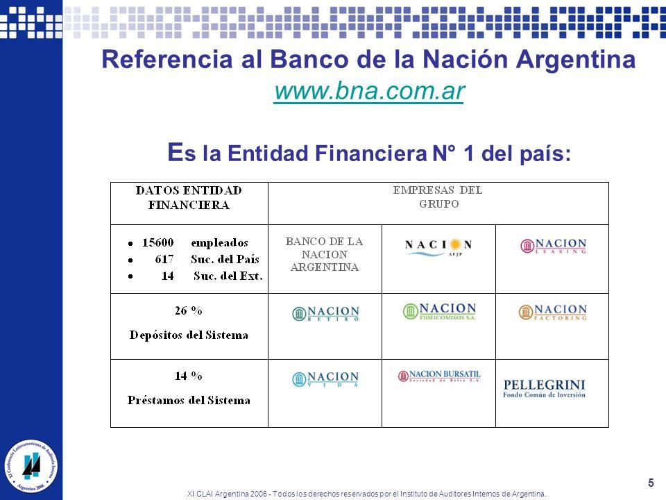 XI CLAI Argentina 2006 - Todos los derechos reservados por el Instituto de Auditores Internos de Argentina. 5 Referencia al Banco de la Nación Argenti