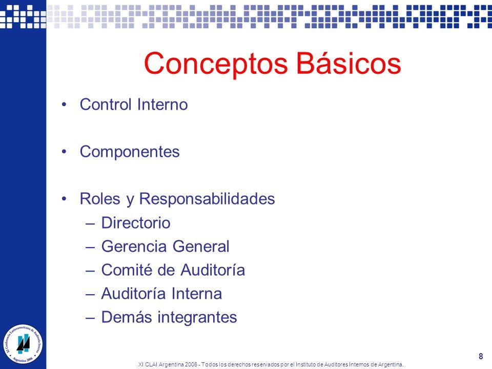 XI CLAI Argentina 2006 - Todos los derechos reservados por el Instituto de Auditores Internos de Argentina. 8 Conceptos Básicos Control Interno Compon