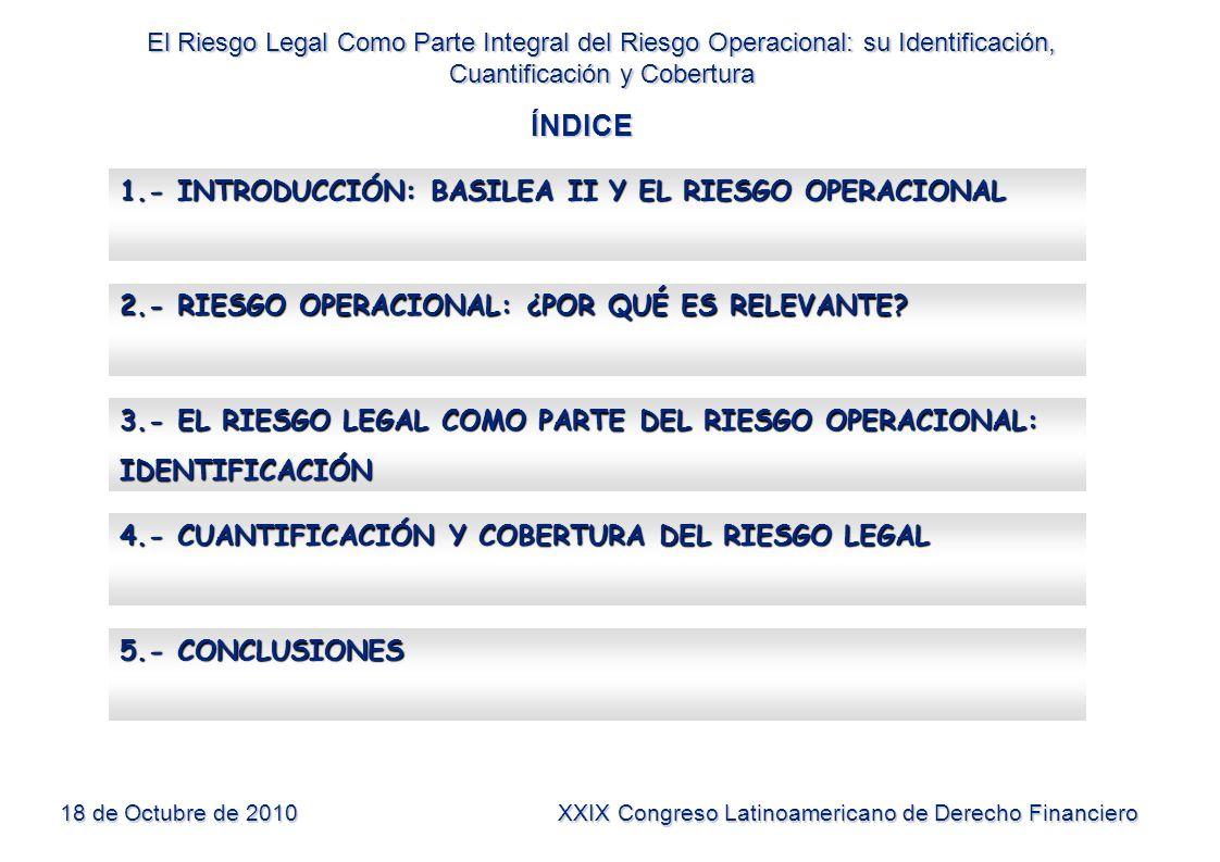 ÍNDICE El Riesgo Legal Como Parte Integral del Riesgo Operacional: su Identificación, Cuantificación y Cobertura 18 de Octubre de 2010 XXIX Congreso L