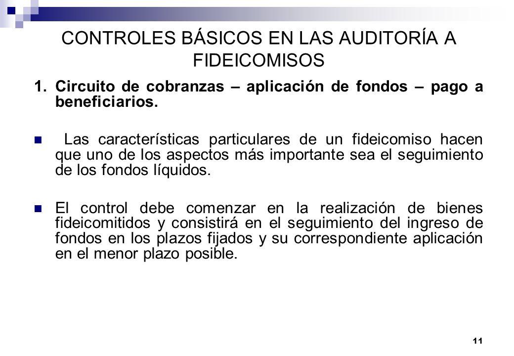 11 CONTROLES BÁSICOS EN LAS AUDITORÍA A FIDEICOMISOS 1.Circuito de cobranzas – aplicación de fondos – pago a beneficiarios. Las características partic
