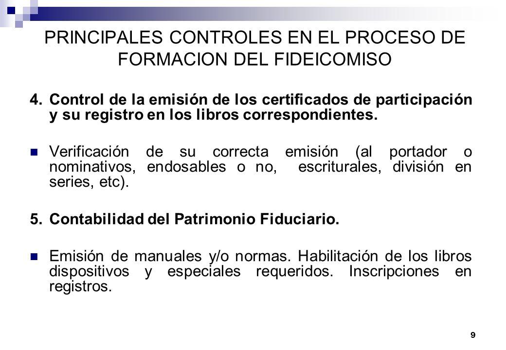 9 PRINCIPALES CONTROLES EN EL PROCESO DE FORMACION DEL FIDEICOMISO 4.Control de la emisión de los certificados de participación y su registro en los l