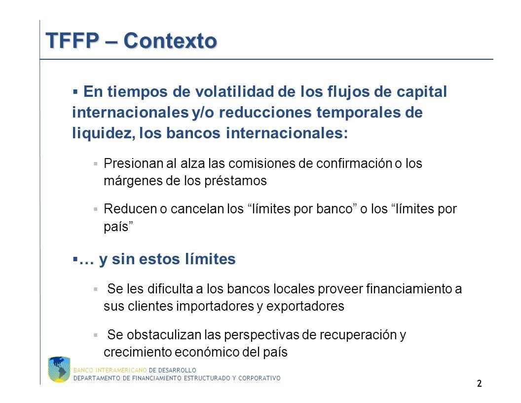 DEPARTAMENTO DE FINANCIAMIENTO ESTRUCTURADO Y CORPORATIVO BANCO INTERAMERICANO DE DESARROLLO 2 TFFP – Contexto TFFP – Contexto En tiempos de volatilidad de los flujos de capital internacionales y/o reducciones temporales de liquidez, los bancos internacionales: Presionan al alza las comisiones de confirmación o los márgenes de los préstamos Reducen o cancelan los límites por banco o los límites por país … y sin estos límites Se les dificulta a los bancos locales proveer financiamiento a sus clientes importadores y exportadores Se obstaculizan las perspectivas de recuperación y crecimiento económico del país