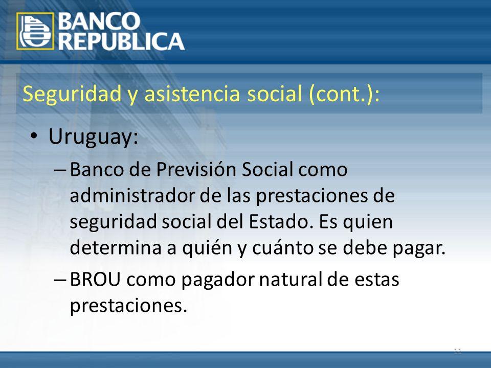 11 Seguridad y asistencia social (cont.): Uruguay: – Banco de Previsión Social como administrador de las prestaciones de seguridad social del Estado.