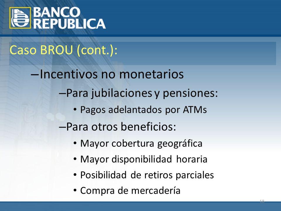 18 Caso BROU (cont.): – Incentivos no monetarios – Para jubilaciones y pensiones: Pagos adelantados por ATMs – Para otros beneficios: Mayor cobertura