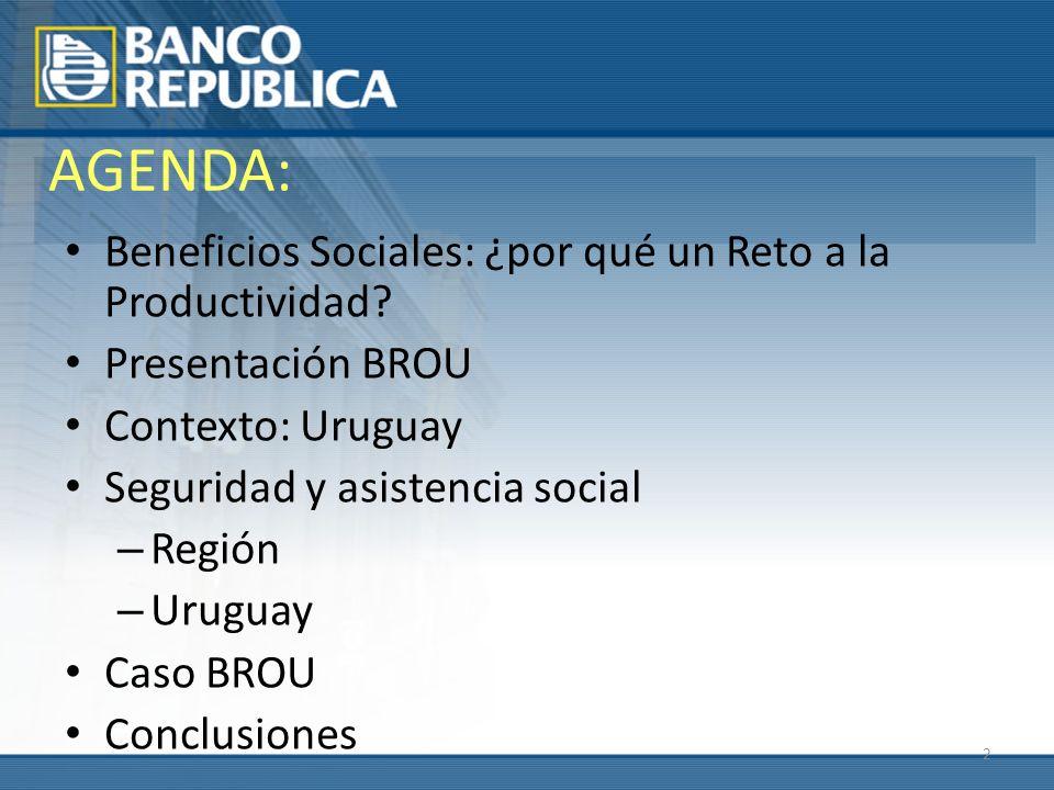 2 AGENDA: Beneficios Sociales: ¿por qué un Reto a la Productividad? Presentación BROU Contexto: Uruguay Seguridad y asistencia social – Región – Urugu