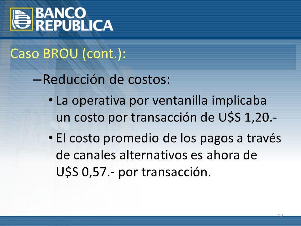 22 Caso BROU (cont.): – Reducción de costos: La operativa por ventanilla implicaba un costo por transacción de U$S 1,20.- El costo promedio de los pagos a través de canales alternativos es ahora de U$S 0,57.- por transacción.