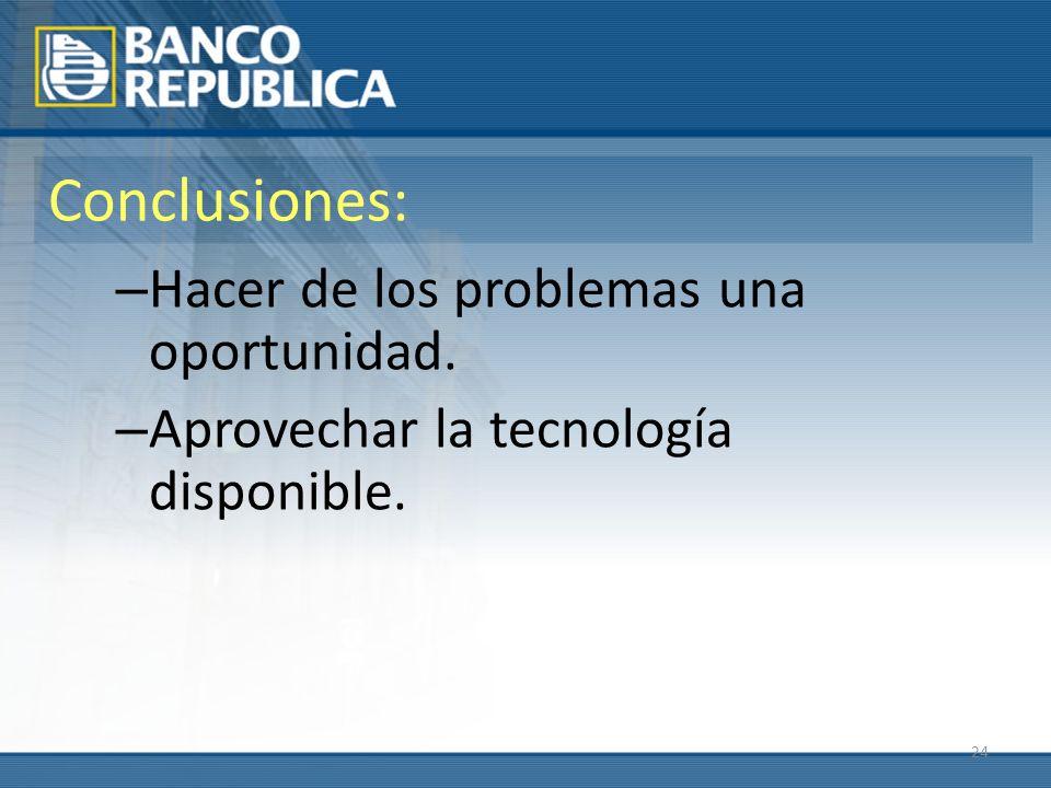 24 Conclusiones: – Hacer de los problemas una oportunidad. – Aprovechar la tecnología disponible.
