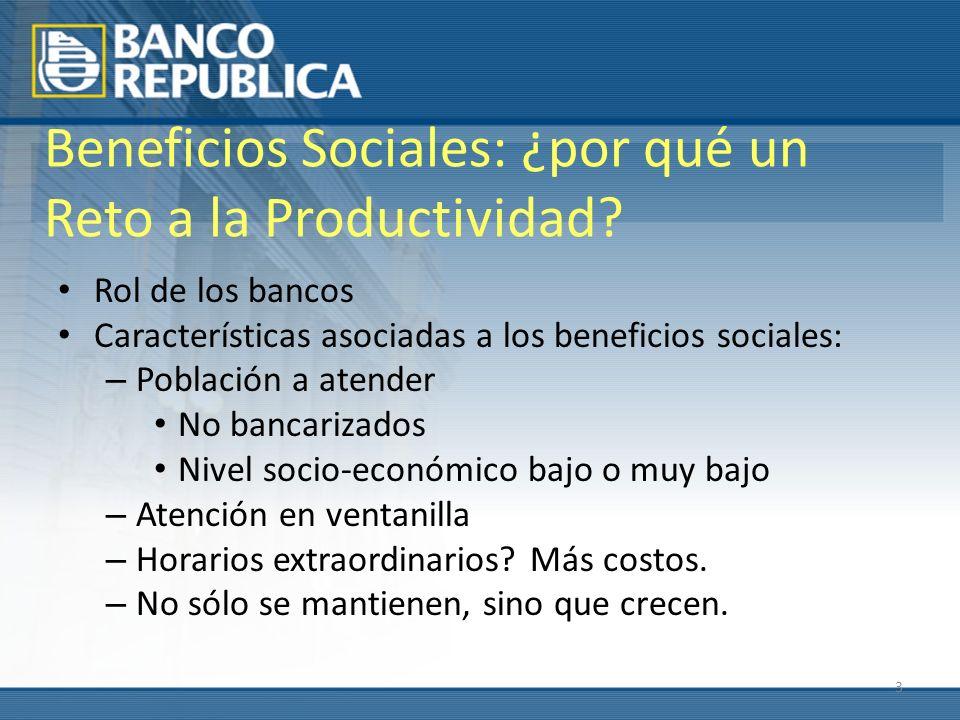 3 Beneficios Sociales: ¿por qué un Reto a la Productividad? Rol de los bancos Características asociadas a los beneficios sociales: – Población a atend