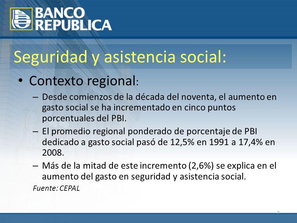 7 Seguridad y asistencia social: Contexto regional : – Desde comienzos de la década del noventa, el aumento en gasto social se ha incrementado en cinco puntos porcentuales del PBI.