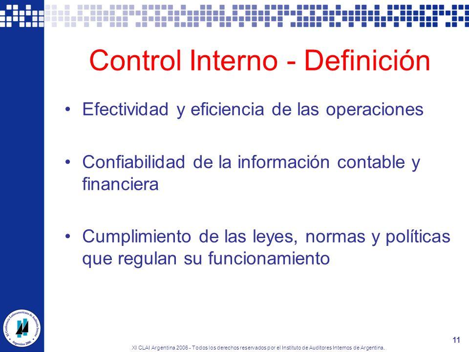 XI CLAI Argentina 2006 - Todos los derechos reservados por el Instituto de Auditores Internos de Argentina. 11 Control Interno - Definición Efectivida