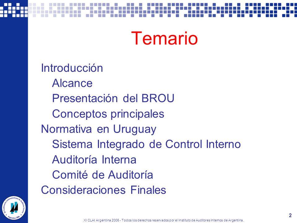 XI CLAI Argentina 2006 - Todos los derechos reservados por el Instituto de Auditores Internos de Argentina. 2 Temario Introducción Alcance Presentació