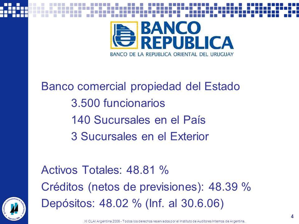 XI CLAI Argentina 2006 - Todos los derechos reservados por el Instituto de Auditores Internos de Argentina. 4 El BROU Banco comercial propiedad del Es