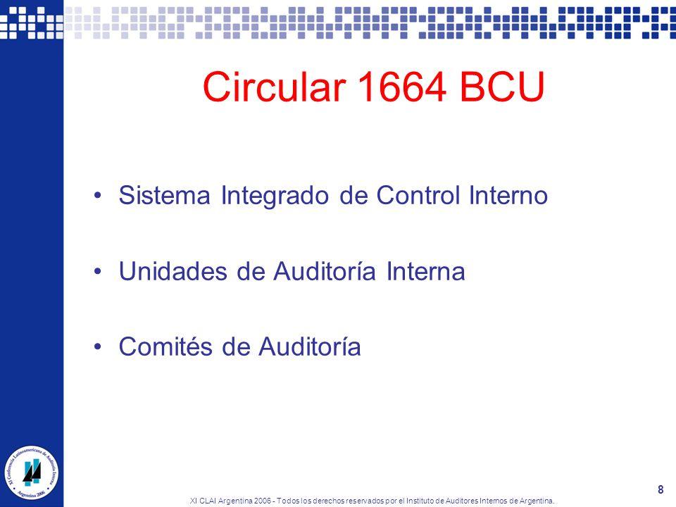 XI CLAI Argentina 2006 - Todos los derechos reservados por el Instituto de Auditores Internos de Argentina. 8 Circular 1664 BCU Sistema Integrado de C