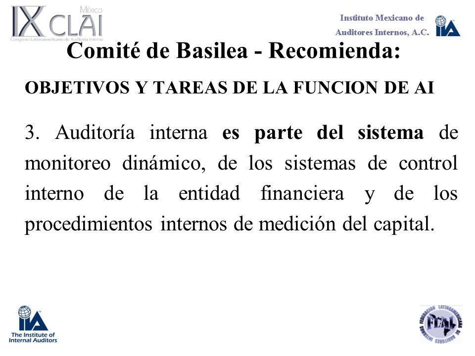 Comité de Basilea - Recomienda: OBJETIVOS Y TAREAS DE LA FUNCION DE AI 3. Auditoría interna es parte del sistema de monitoreo dinámico, de los sistema