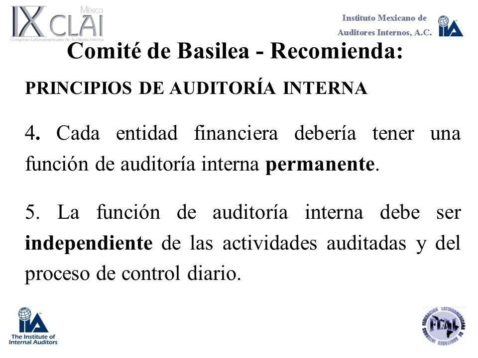 Comité de Basilea - Recomienda: PRINCIPIOS DE AUDITORÍA INTERNA 4. Cada entidad financiera debería tener una función de auditoría interna permanente.