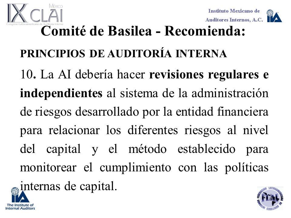 Comité de Basilea - Recomienda: PRINCIPIOS DE AUDITORÍA INTERNA 10. La AI debería hacer revisiones regulares e independientes al sistema de la adminis