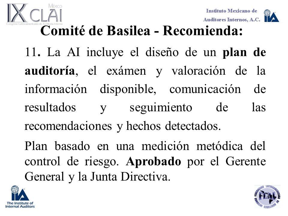 Comité de Basilea - Recomienda: 11. La AI incluye el diseño de un plan de auditoría, el exámen y valoración de la información disponible, comunicación
