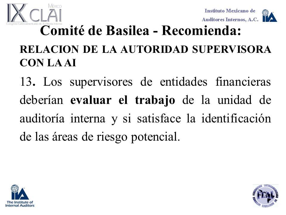 Comité de Basilea - Recomienda: RELACION DE LA AUTORIDAD SUPERVISORA CON LA AI 13. Los supervisores de entidades financieras deberían evaluar el traba