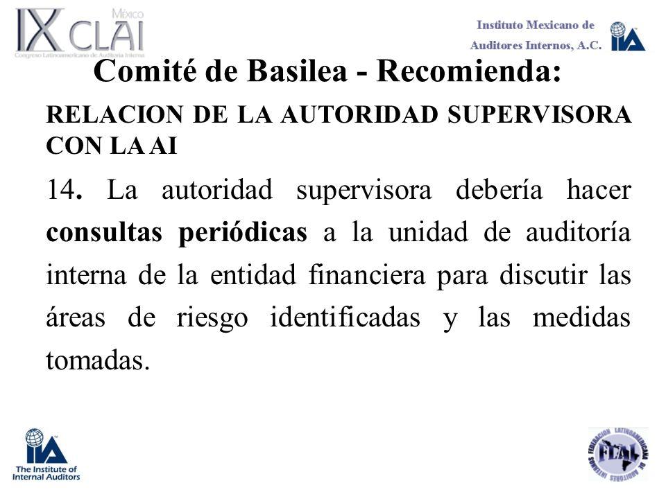 Comité de Basilea - Recomienda: RELACION DE LA AUTORIDAD SUPERVISORA CON LA AI 14. La autoridad supervisora debería hacer consultas periódicas a la un