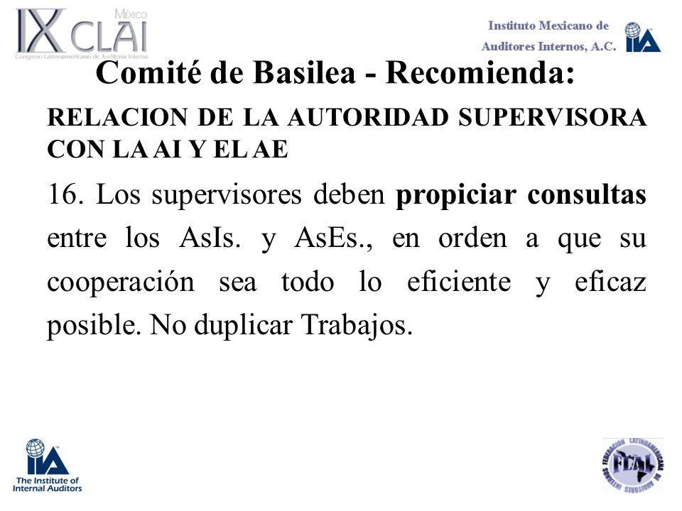 Comité de Basilea - Recomienda: RELACION DE LA AUTORIDAD SUPERVISORA CON LA AI Y EL AE 16. Los supervisores deben propiciar consultas entre los AsIs.