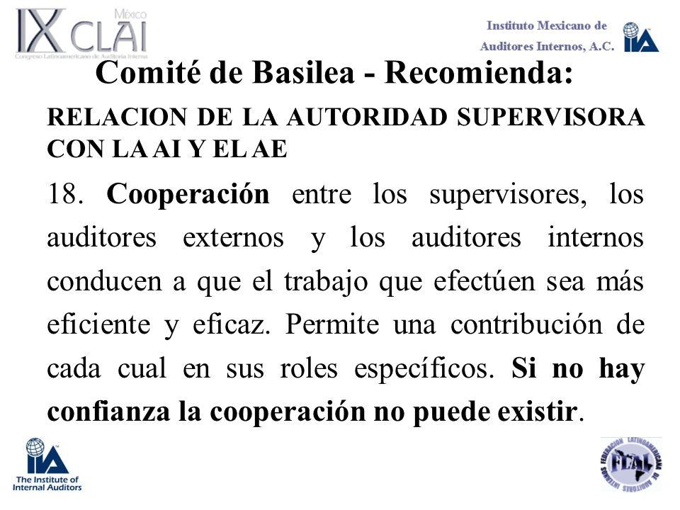 Comité de Basilea - Recomienda: RELACION DE LA AUTORIDAD SUPERVISORA CON LA AI Y EL AE 18. Cooperación entre los supervisores, los auditores externos