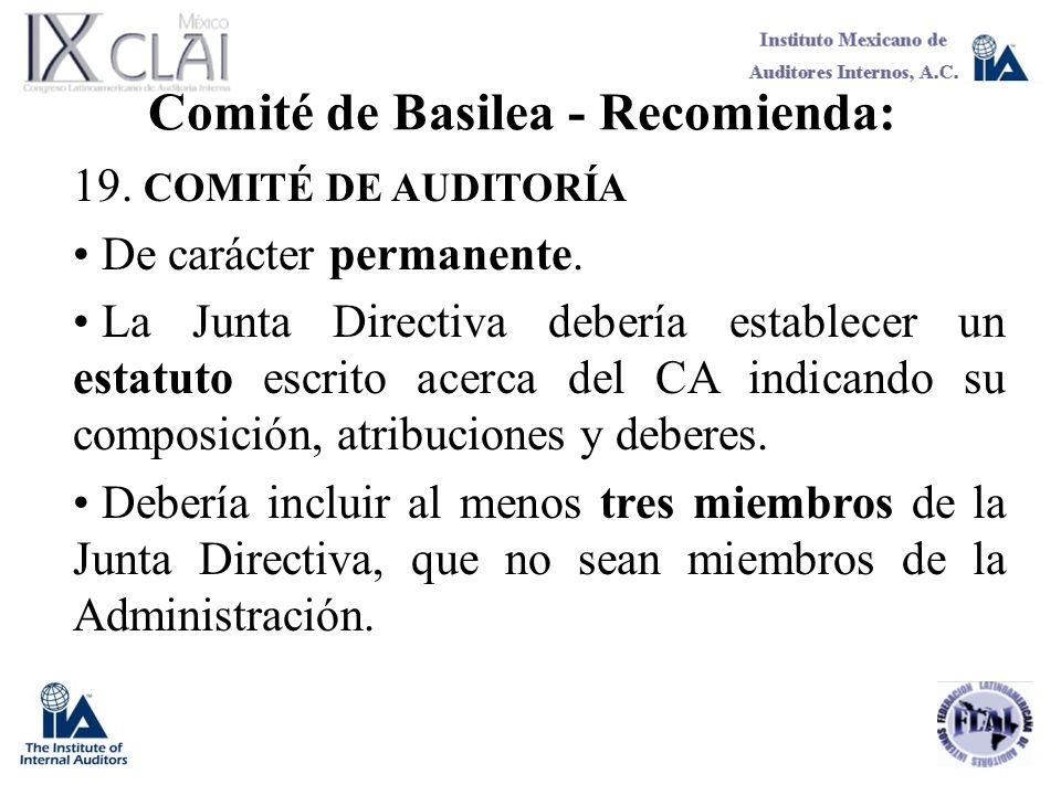 Comité de Basilea - Recomienda: 19. COMITÉ DE AUDITORÍA De carácter permanente. La Junta Directiva debería establecer un estatuto escrito acerca del C