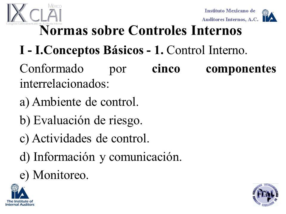 Normas sobre Controles Internos I - I.Conceptos Básicos - 1. Control Interno. Conformado por cinco componentes interrelacionados: a) Ambiente de contr