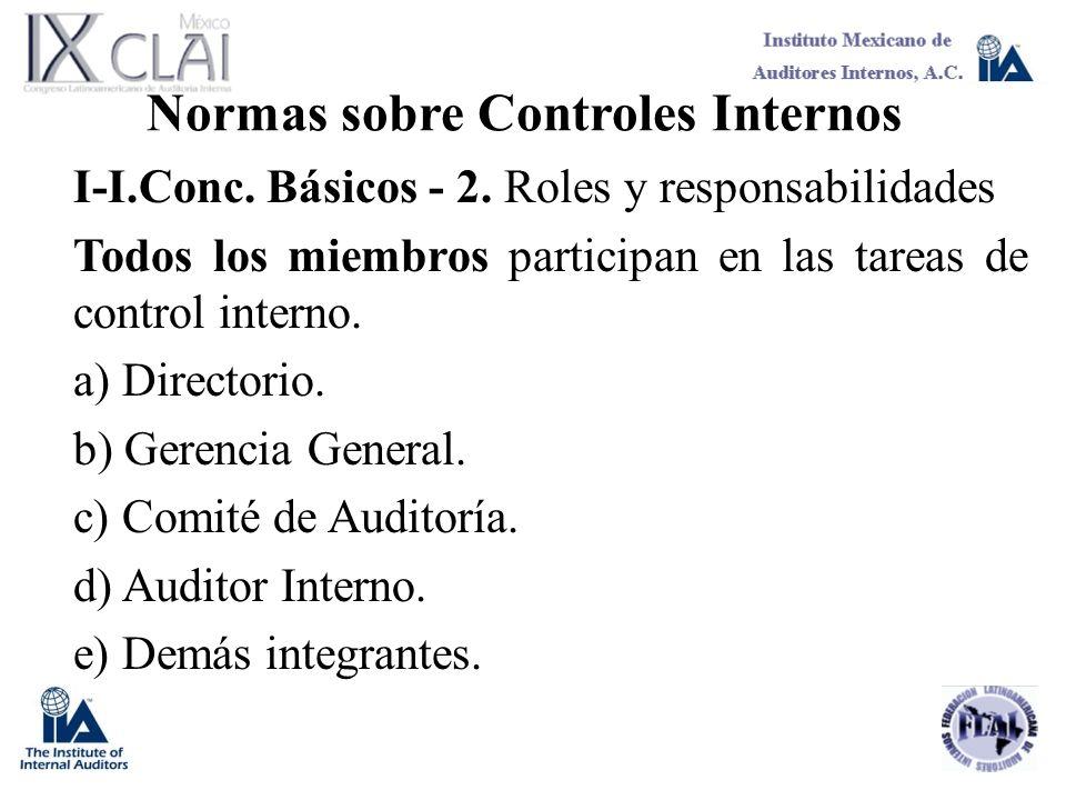 Normas sobre Controles Internos I-I.Conc. Básicos - 2. Roles y responsabilidades Todos los miembros participan en las tareas de control interno. a) Di
