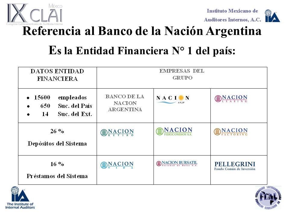 Referencia al Banco de la Nación Argentina E s la Entidad Financiera N° 1 del país: