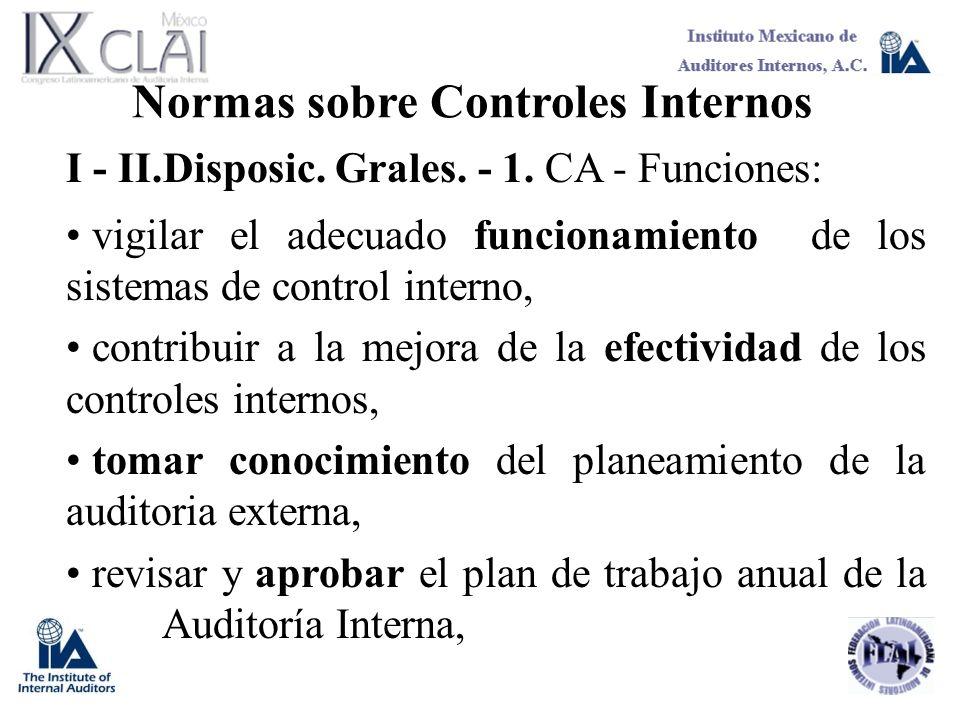 Normas sobre Controles Internos I - II.Disposic. Grales. - 1. CA - Funciones: vigilar el adecuado funcionamiento de los sistemas de control interno, c
