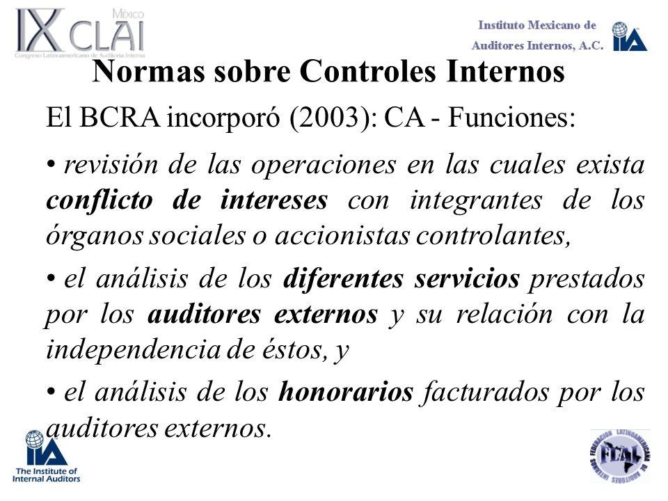 Normas sobre Controles Internos El BCRA incorporó (2003): CA - Funciones: revisión de las operaciones en las cuales exista conflicto de intereses con