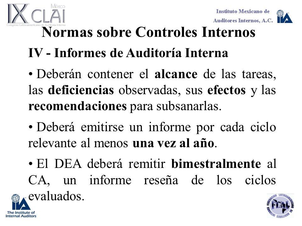 Normas sobre Controles Internos IV - Informes de Auditoría Interna Deberán contener el alcance de las tareas, las deficiencias observadas, sus efectos