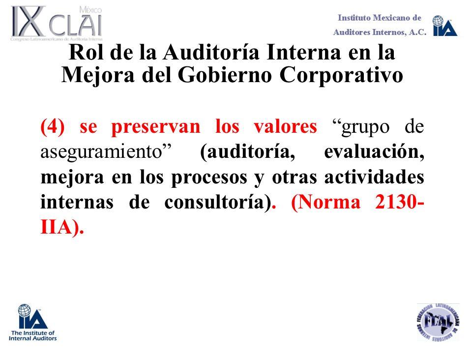 Rol de la Auditoría Interna en la Mejora del Gobierno Corporativo (4) se preservan los valores grupo de aseguramiento (auditoría, evaluación, mejora e