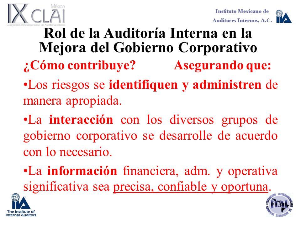 Rol de la Auditoría Interna en la Mejora del Gobierno Corporativo ¿Cómo contribuye?Asegurando que: Los riesgos se identifiquen y administren de manera