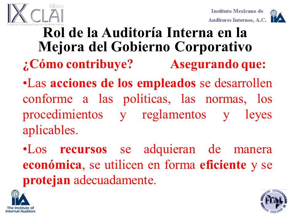 Rol de la Auditoría Interna en la Mejora del Gobierno Corporativo ¿Cómo contribuye?Asegurando que: Las acciones de los empleados se desarrollen confor