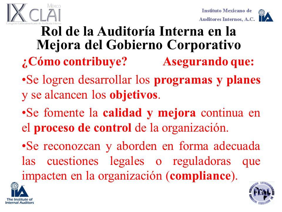 Rol de la Auditoría Interna en la Mejora del Gobierno Corporativo ¿Cómo contribuye?Asegurando que: Se logren desarrollar los programas y planes y se a