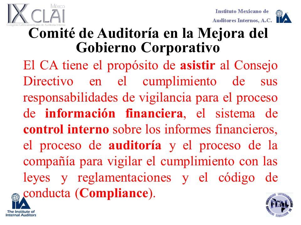 Comité de Auditoría en la Mejora del Gobierno Corporativo El CA tiene el propósito de asistir al Consejo Directivo en el cumplimiento de sus responsab