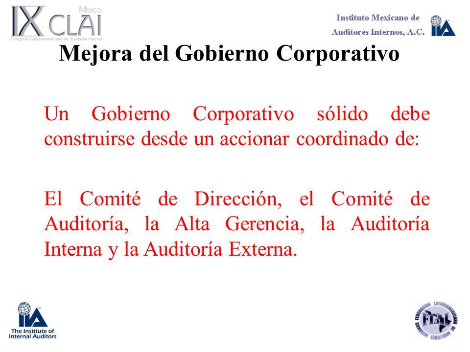 Mejora del Gobierno Corporativo Un Gobierno Corporativo sólido debe construirse desde un accionar coordinado de: El Comité de Dirección, el Comité de