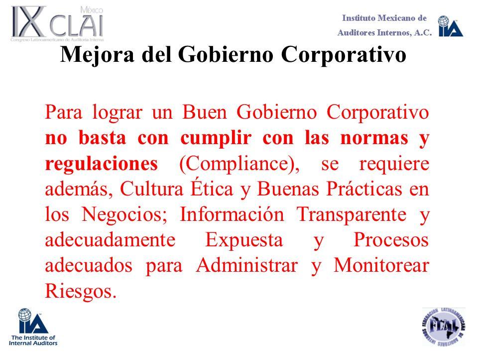 Mejora del Gobierno Corporativo Para lograr un Buen Gobierno Corporativo no basta con cumplir con las normas y regulaciones (Compliance), se requiere