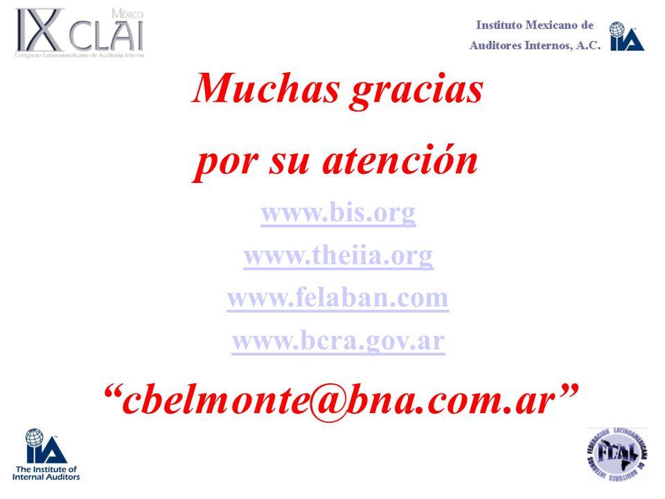 Muchas gracias por su atención www.bis.org www.theiia.org www.felaban.com www.bcra.gov.ar cbelmonte@bna.com.ar